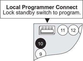 Local Programmer Connect Lock standby switch to program. 11 12 1 10 9