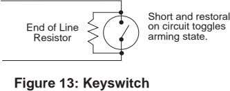 End of Line Resistor Short and restoral on circuit toggles arming state. Figure 13: Keyswitch