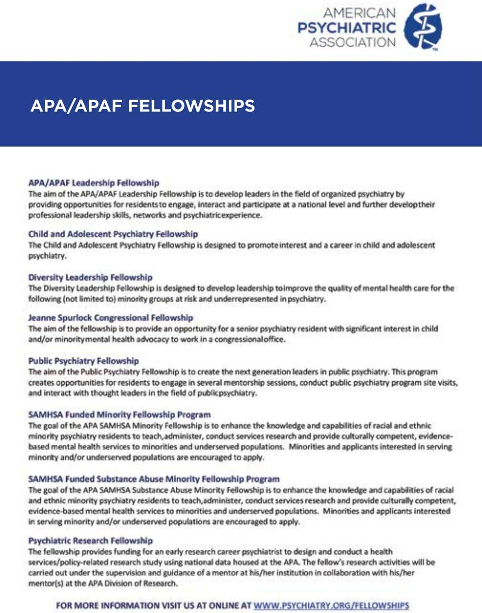 APA/APAF FELLOWSHIPS