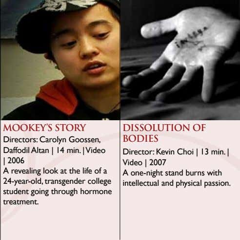 MOOKEY'S STORY Directors: Carolyn Goossen, Daffodil Altan | 14 min. | Video DISSOLUTION OF BODIES