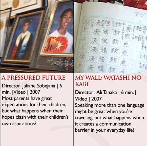 A PRESSURED FUTURE MY WALL: WATASHI NO KABE Director: Juliane Sobejana | 6 min. |