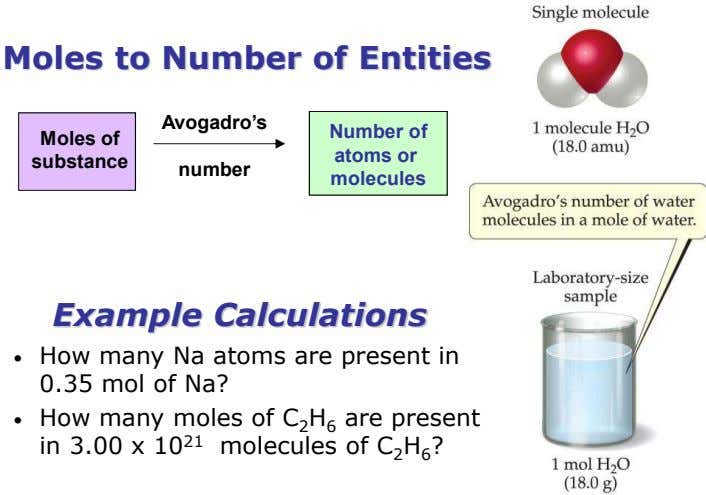 Moles to Number of Entities Avogadro's Number of Moles of atoms or substance number molecules