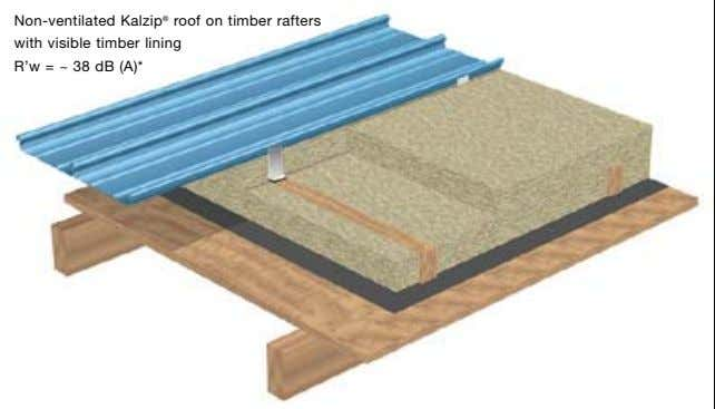 Non-ventilated Kalzip ® roof on timber rafters with visible timber lining R'w = ~ 38