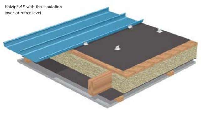 Kalzip ® AF with the insulation layer at rafter level
