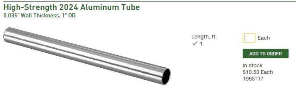 not have aluminum parts you will need to purchase a length of aluminum tubing, cut and