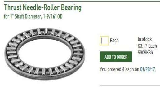 "for J1 bearings - Amazon Qty. (1) for J3 bearing - Amazon Qty.(3) 1"" thrust bearings"