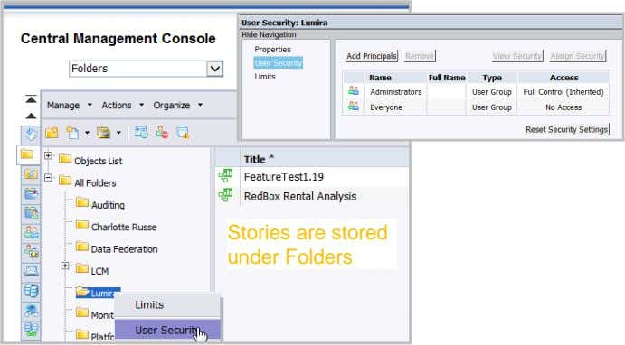 Stories are stored under Folders