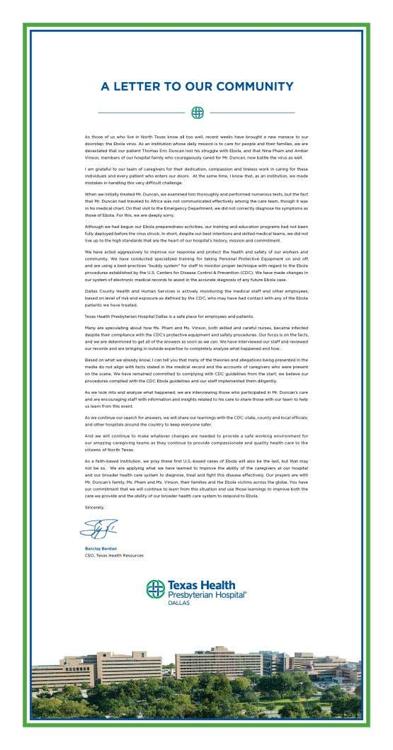Healing an Image 22 Figure 3: THR CEO Barclay Berdan's letter to the Dallas community
