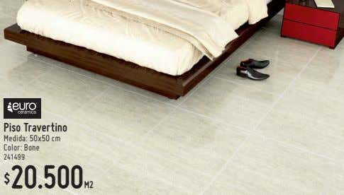 Piso Travertino Medida: 50x50 cm Color: Bone 241499 20.500M2 $