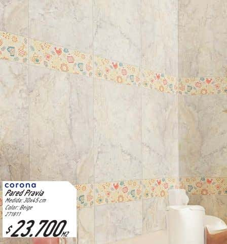 Pared Pravia Medida: 30x45 cm Color: Beige 271811 $ 23.700M2