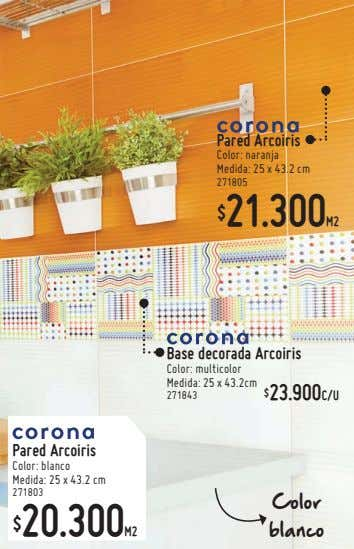 Pared Arcoiris Color: naranja Medida: 25 x 43.2 cm 271805 21.300M2 $ Base decorada Arcoiris