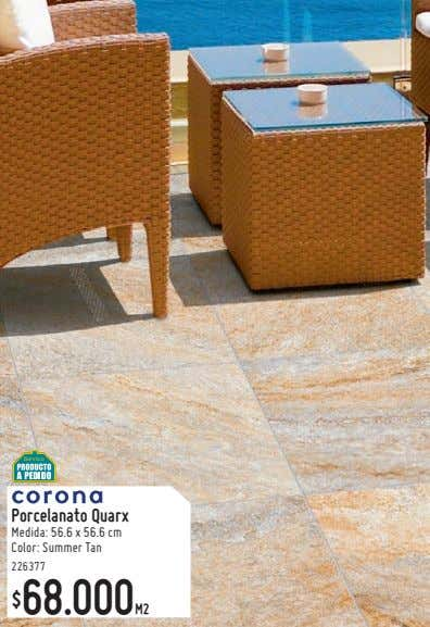 Porcelanato Quarx Medida: 56.6 x 56.6 cm Color: Summer Tan 226377 68.000M2 $