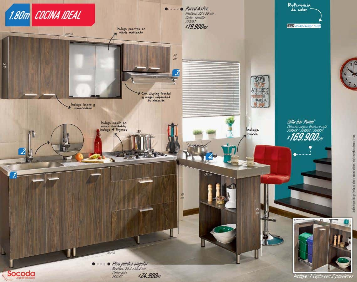 Referencia Pared Aster de color 1.80m COCINA IDEAL Medidas: 32 x 56 cm Color: vainilla