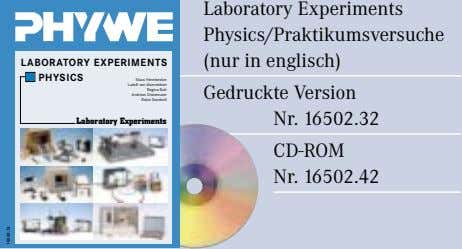 Laboratory Experiments Physics/Praktikumsversuche (nur in englisch) LABORATORY EXPERIMENTS PHYSICS Klaus Hermbecker