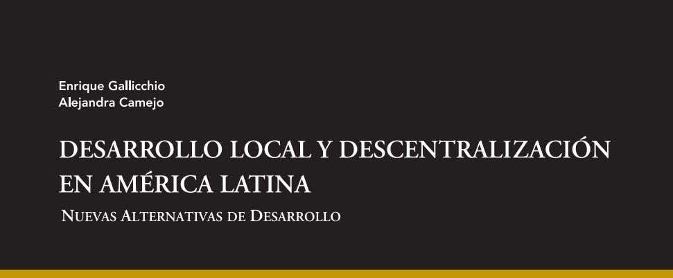 Desarrollo local y descentralización en América Latina
