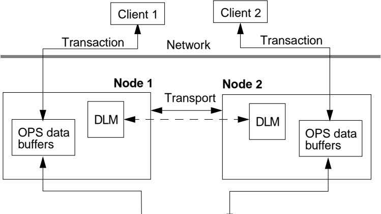 Client 1 Client 2 Transaction Transaction Network Node 1 Node 2 Transport DLM OPS data