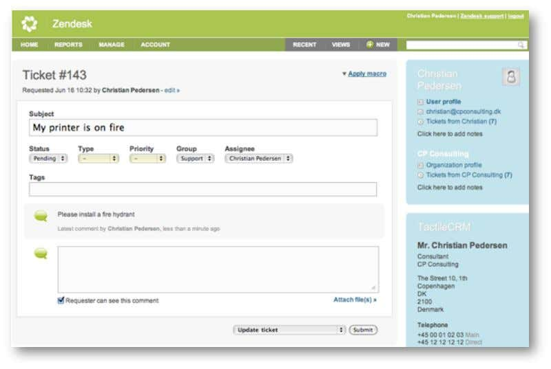 Guide to Customizing and Integrating Zendesk Figure 1 – Support Agent View of Zendesk Interface Table