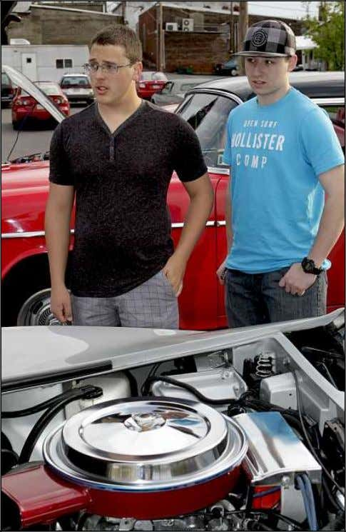 1985 Ford Mustang is owned by Carmen Timonte of Pittston. Josh Coe, left, and Trevor Smith,