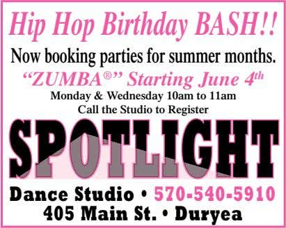 "Hip Hop Birthday BASH!! Nowbooking parties for summer months. ""ZUMBA ® "" Starting June 4"