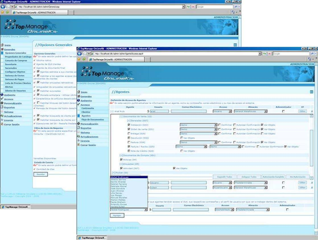 OLK(On Line Kit) WebPortal Para SAP ® Business One OL establecer las reglas ycontroles necesarios
