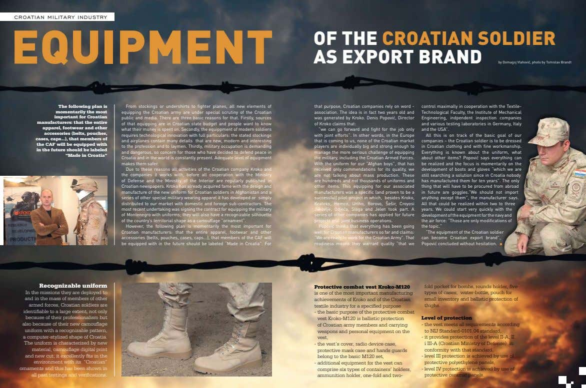 croatian military industry equipment of the Croatian soldier as export brand by Domagoj Vlahović, photo