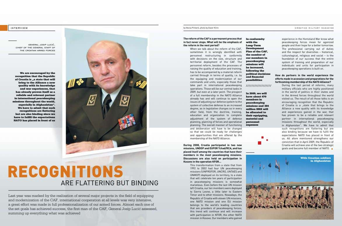 interview by Vesna Pintarić, photo by Davor Kirin croatian military magazine general josip lucić, chief