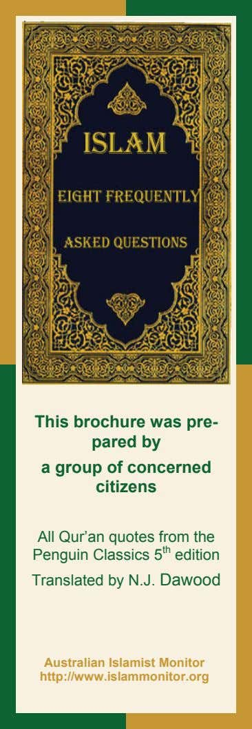 This brochure was pre- pared by a group of concerned citizens All Qur'an quotes from