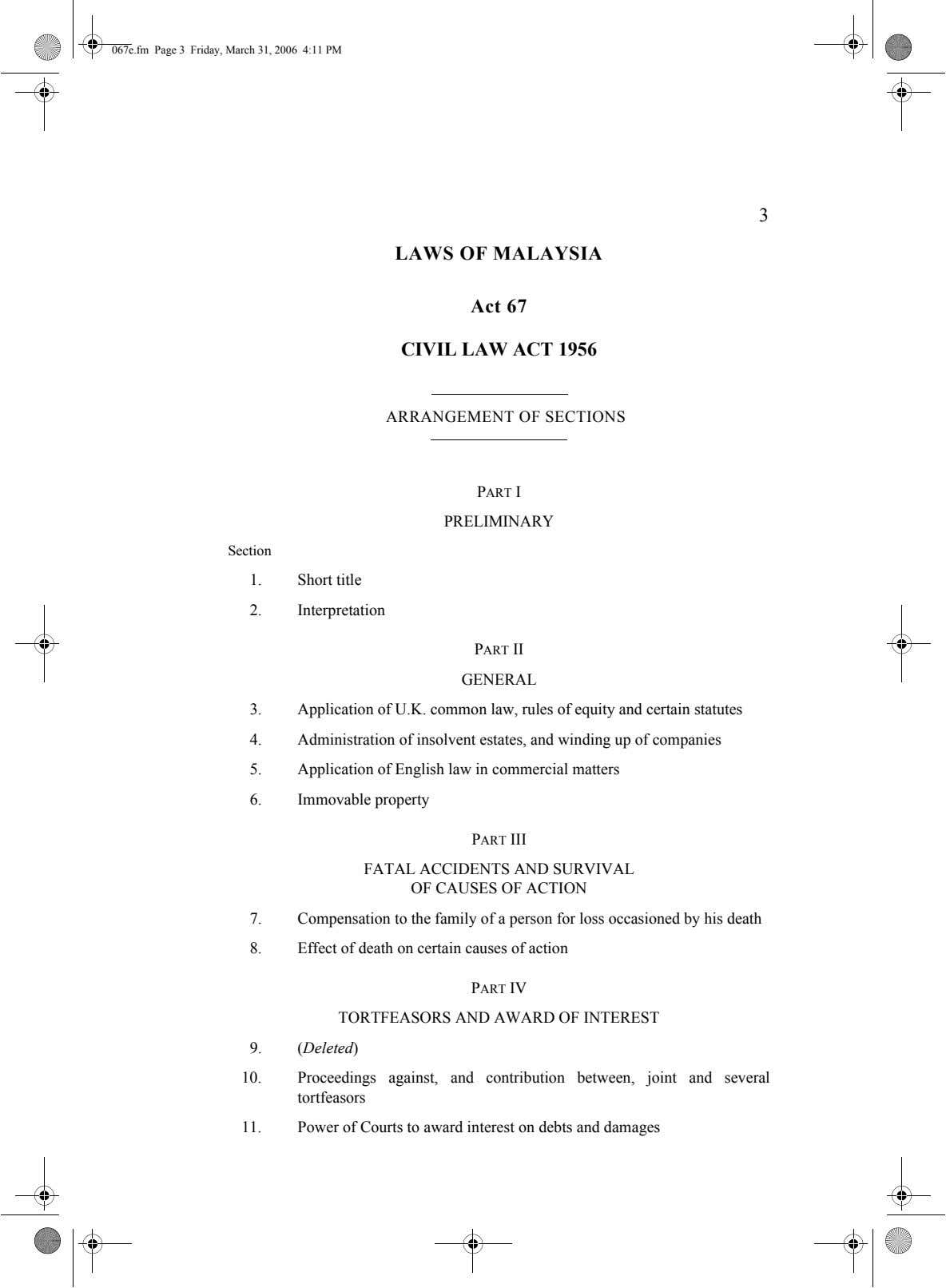 067e.fm Page 3 Friday, March 31, 2006 4:11 PM 3 LAWS OF MALAYSIA Act 67