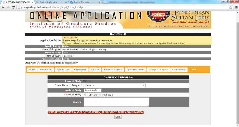 of this screen is applicant want to change the program Figure 1.13 – APPLY_FORM_LOCAL.PHP, form application