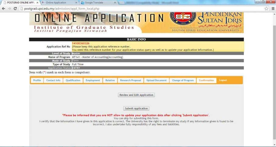 review the applicant form and submit the application form. Figure 1.14 – appl_form_local.php , form application