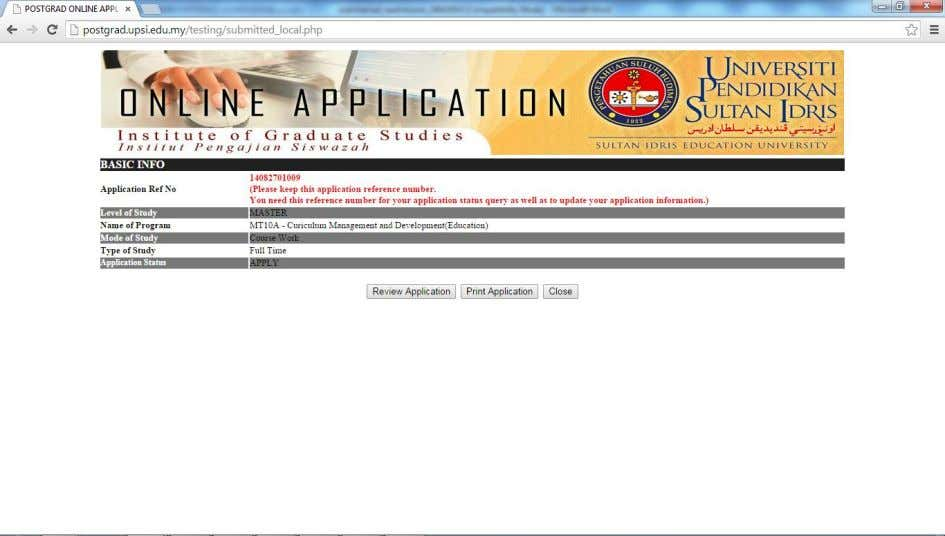of this screen will show after submit the application.   Figure 1.15 – SUBMIT_LOCAL.PHP, submit screen.