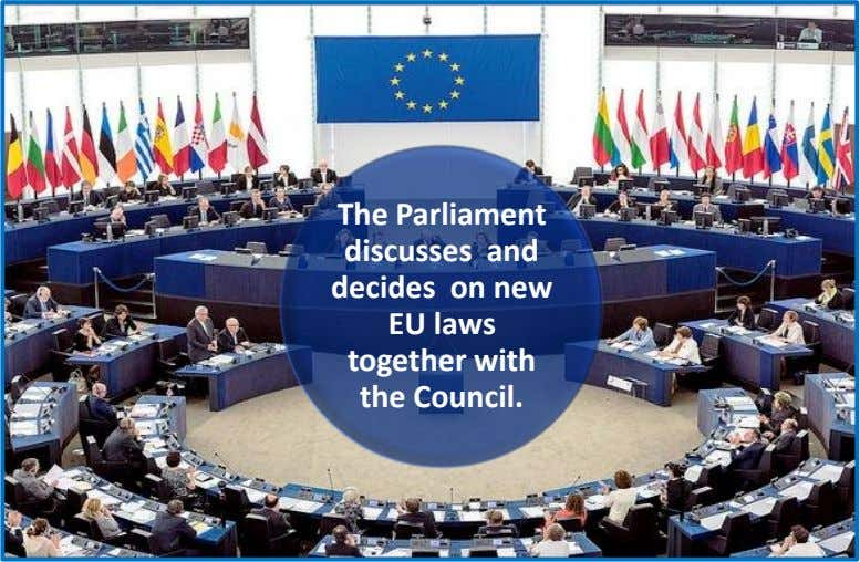 The Parliament discusses and decides on new EU laws together with the Council.