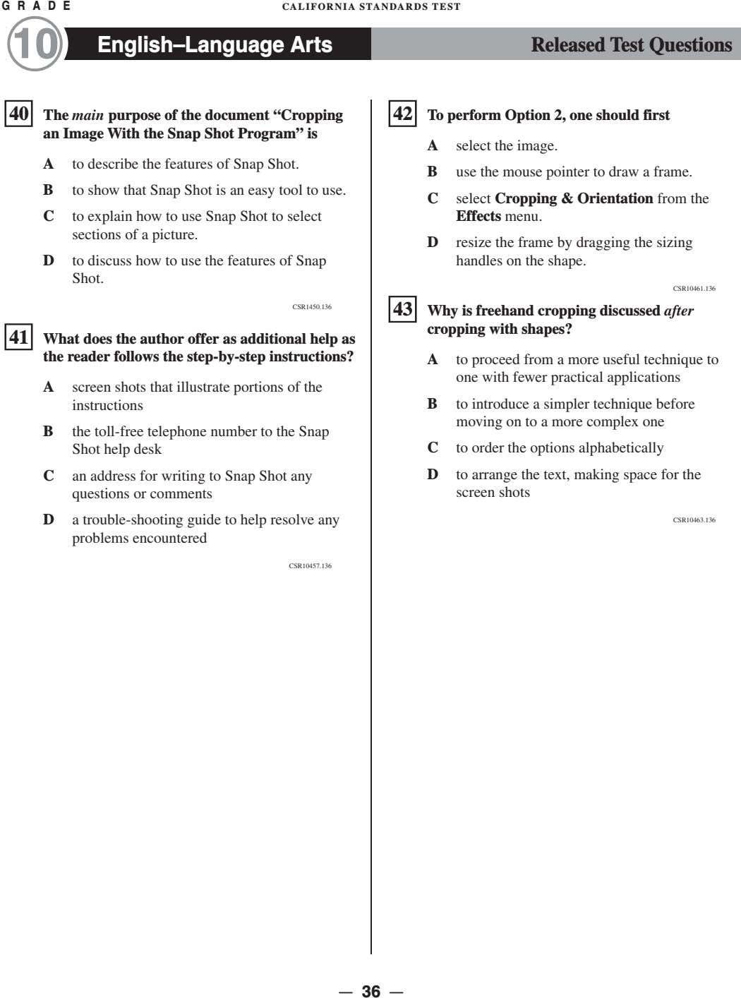 G R A D E CALIFORNIA STANDARDS TEST 10 English–Language Arts Released Test Questions �