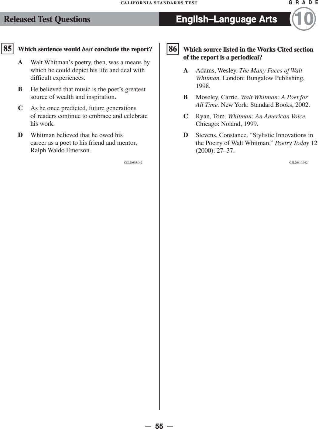 CALIFORNIA STANDARDS TEST G R A D E Released Test Questions English–Language Arts 10 �
