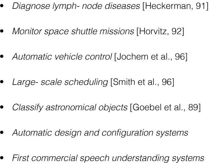 • Diagnose lymph- node diseases [Heckerman, 91] 