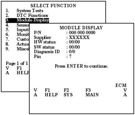 the general information about the selected ECU module Figure 2.22: ECM Module Display Follow the Screen