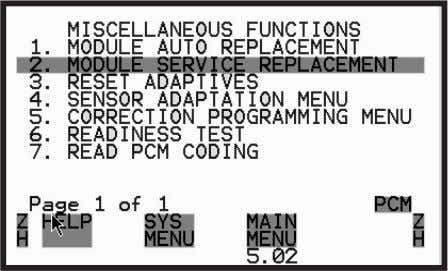 Replacement from the Miscellaneous Func- tions Menu. Figure 3.29: Module Service Replacement 5 Follow