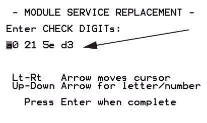 Enter the Checksum/Check Digits, press ENTER to continue. Figure 3.35: Manual Entry Screen, Checksum/Check Digit 12
