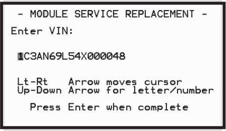 the vehicle VIN number when the following screen appears. Figure 3.30: VIN Entry 7 The application