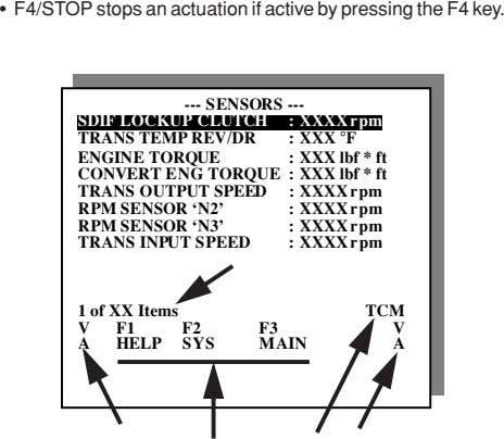 • F4/STOP stops an actuation if active by pressing the F4 key. --- SENSORS ---