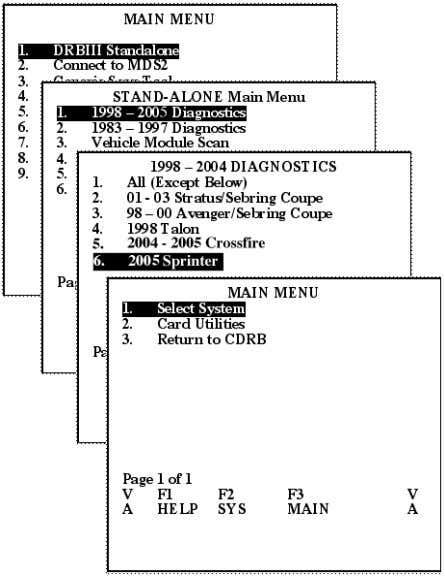STAND-ALONE Main Menu 1. 1998 – 2004 Diagnostics 2. 1 983 – 1997 Diagnostics 3.