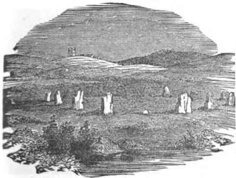 PLATE NO. II. r THRKF. CELK11RATED CROMLECHS. CIRCLES AND STANDING STONES. A B A R I