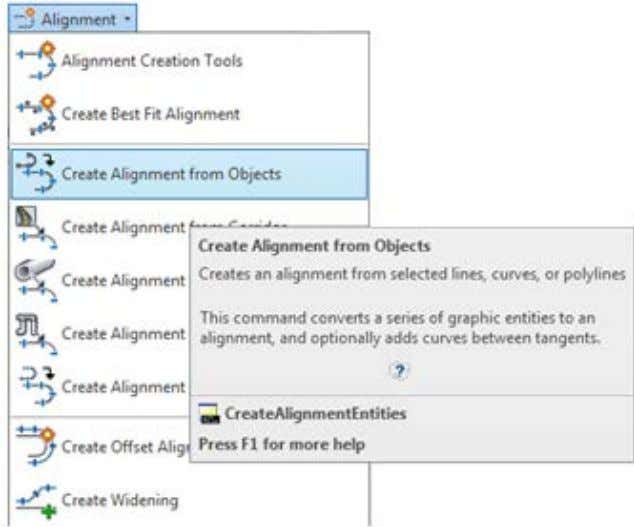Create Design » Alignment» Create Alignment from Objects. NOTA: Para definir un alineamiento, ya sea a