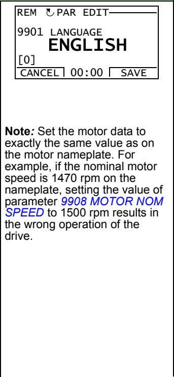 REM PAR EDIT 9901 LANGUAGE ENGLISH [0] CANCEL 00:00 SAVE Note: Set the motor data