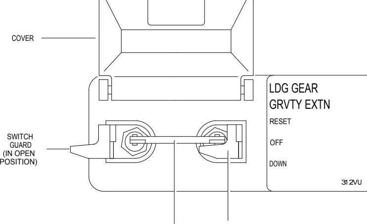 COVER LDG GEAR GRVTY EXTN RESET SWITCH OFF GUARD (IN OPEN POSITION) DOWN 312VU