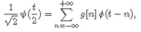 of g are defined by the wavelet scaling equation or, in the Fourier domain: Conversely, a