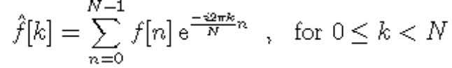 Fourier transform of a discrete signal with N samples is Using this formula to compute the