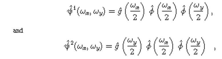 with separable wavelets whose Fourier transforms are where g is a finite difference filter; the two