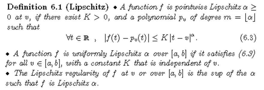 a polynomial. The definition of the Lipschitz regularity is Fourier condition Naturally, this a global regularity