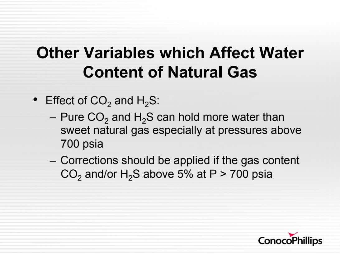 Other Variables which Affect Water Content of Natural Gas •   Effect of CO 2